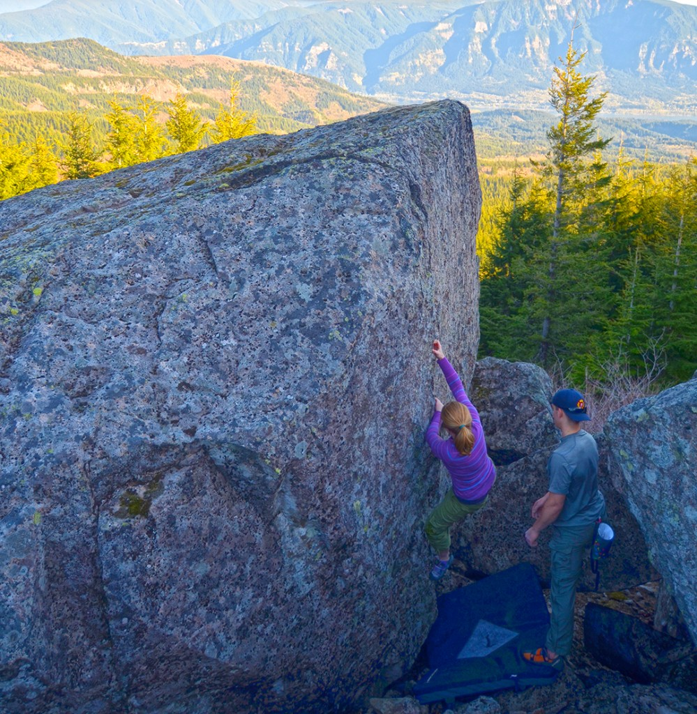 Jess Holzman bouldering high above Beacon Rock